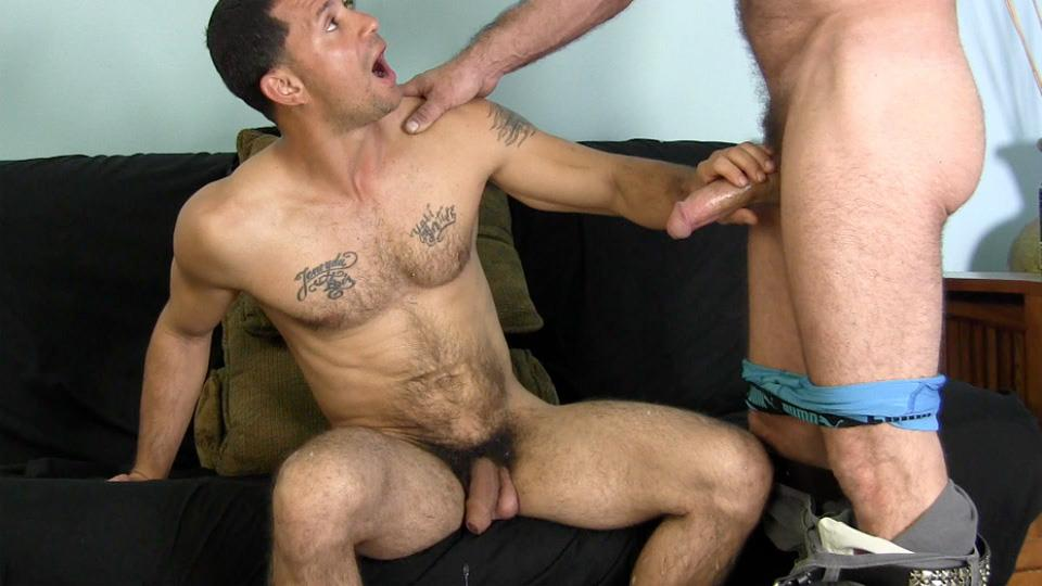 Desperate straight first gay blowjob
