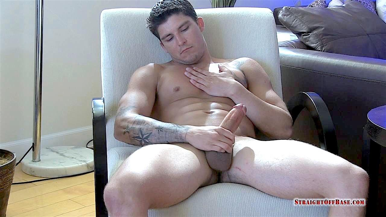 Straight-Off-Base-Tyson-Navy-Officer-Big-Dick-Jerk-Off-19 Muscular Navy Petty Officer Strokes his Big Fat Cock