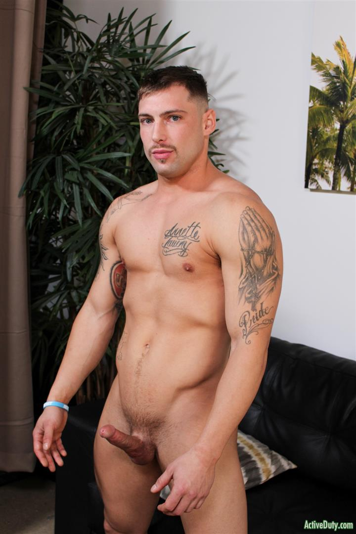 Active-Duty-Calvin-Naked-Muscular-Marine-Jerk-Off-06 Muscular Inked Up Marine Jerks His Big Dick Until He Cums