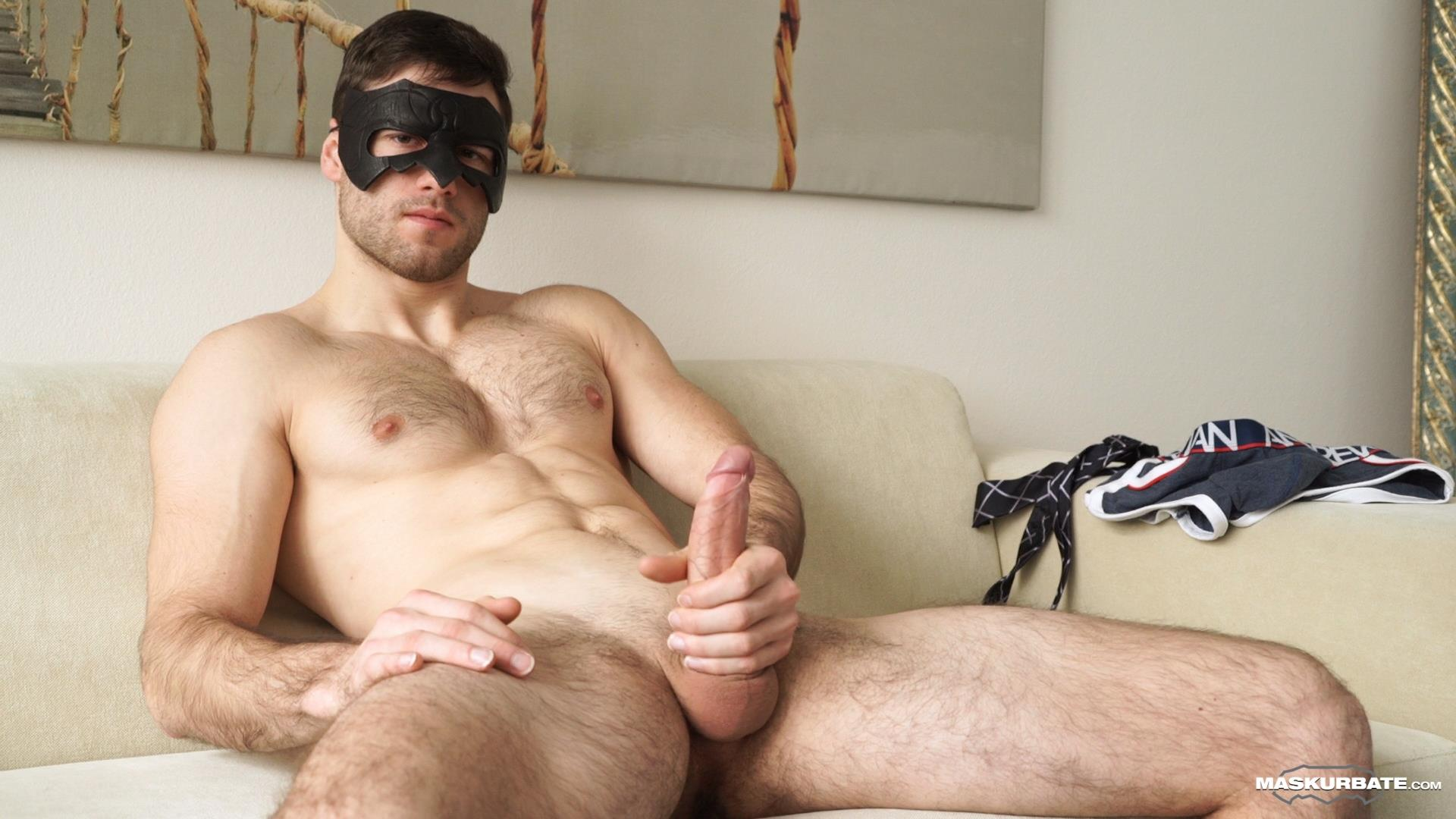 Maskurbate-Sam-Cuthan-Straight-Naked-Hairy-Muscle-Guy-Jerk-off-05 Straight Masked Hairy Muscle Hunk Strokes His Big Uncut Cock