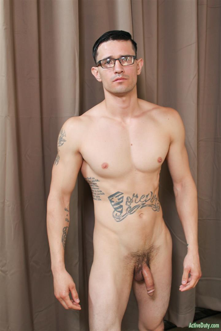 Active-Duty-Woody-Johnson-Naked-Military-Guy-Jerking-Off-Big-Cock-11 Soldier Auditions For Gay Porn And Strokes A Big Load Out